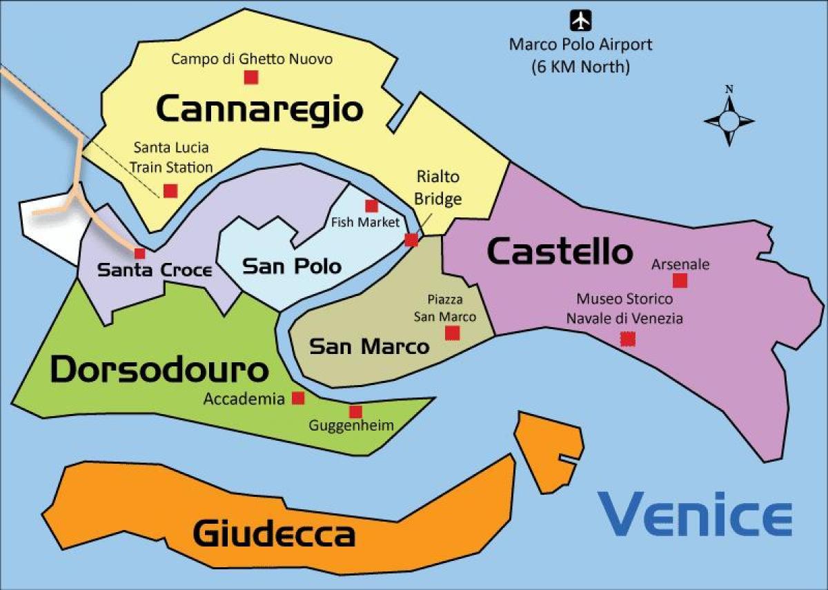 Venedig Regionen Karta Venedig Regioner Karta Italien